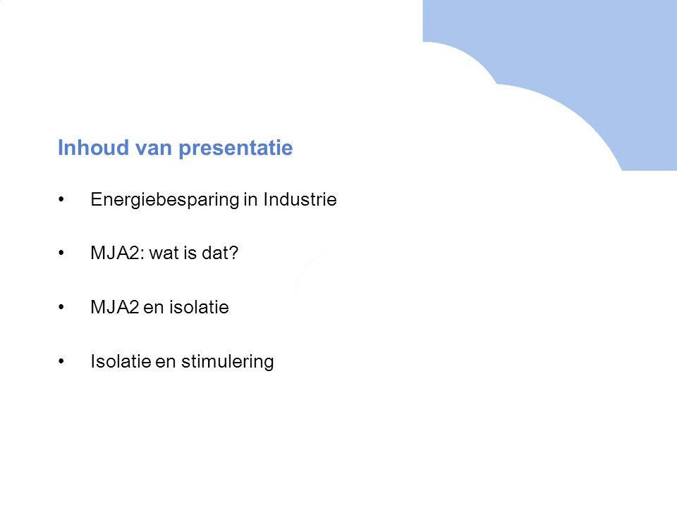 Inhoud van presentatie Energiebesparing in Industrie MJA2: wat is dat? MJA2 en isolatie Isolatie en stimulering