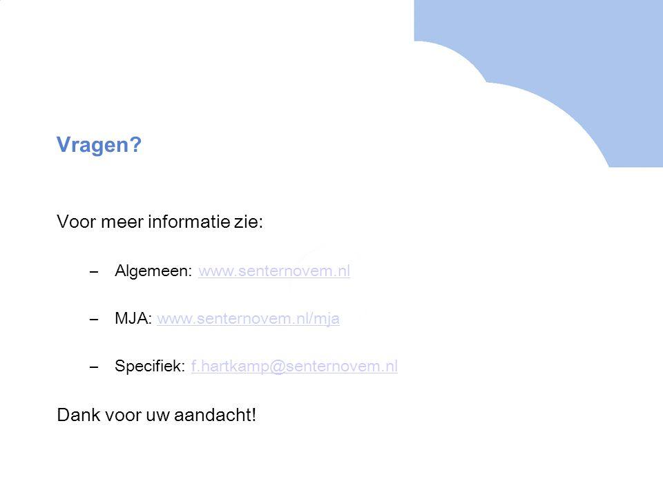 Vragen? Voor meer informatie zie: –Algemeen: www.senternovem.nlwww.senternovem.nl –MJA: www.senternovem.nl/mjawww.senternovem.nl/mja –Specifiek: f.har