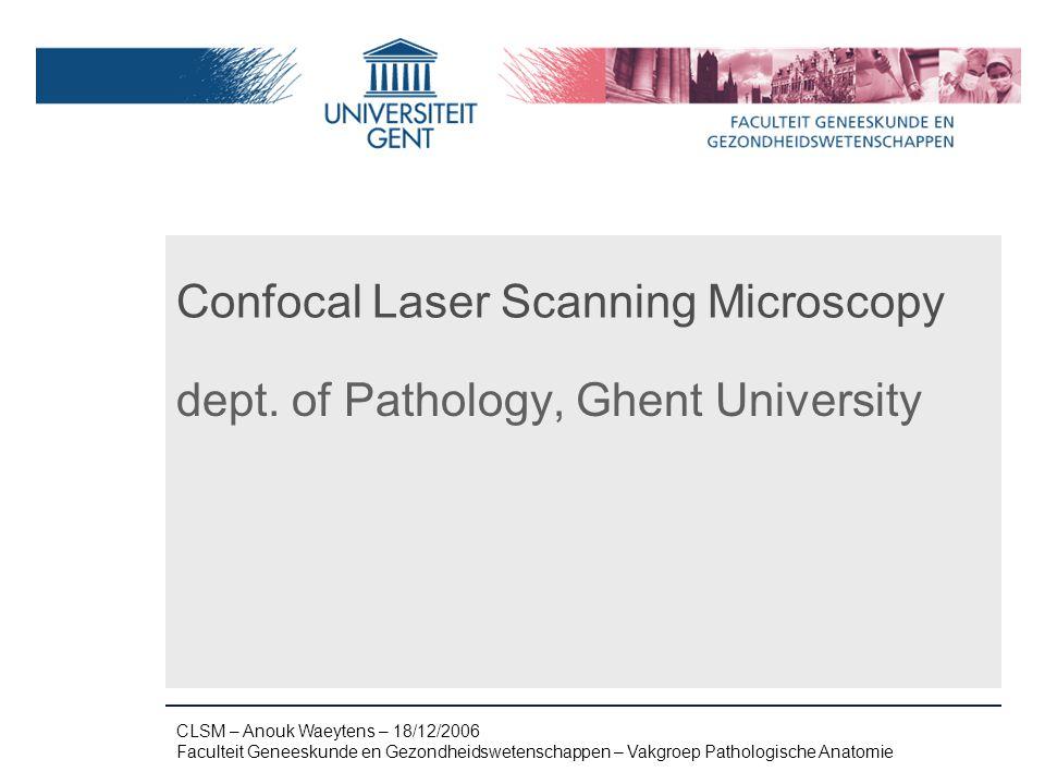 Naam presentatie – Naam maker en/of presentator - 12/09/2005 Faculteit Naam Faculteit – Dienst of Vakgroep (optioneel) Confocal Laser Scanning Microscopy dept.