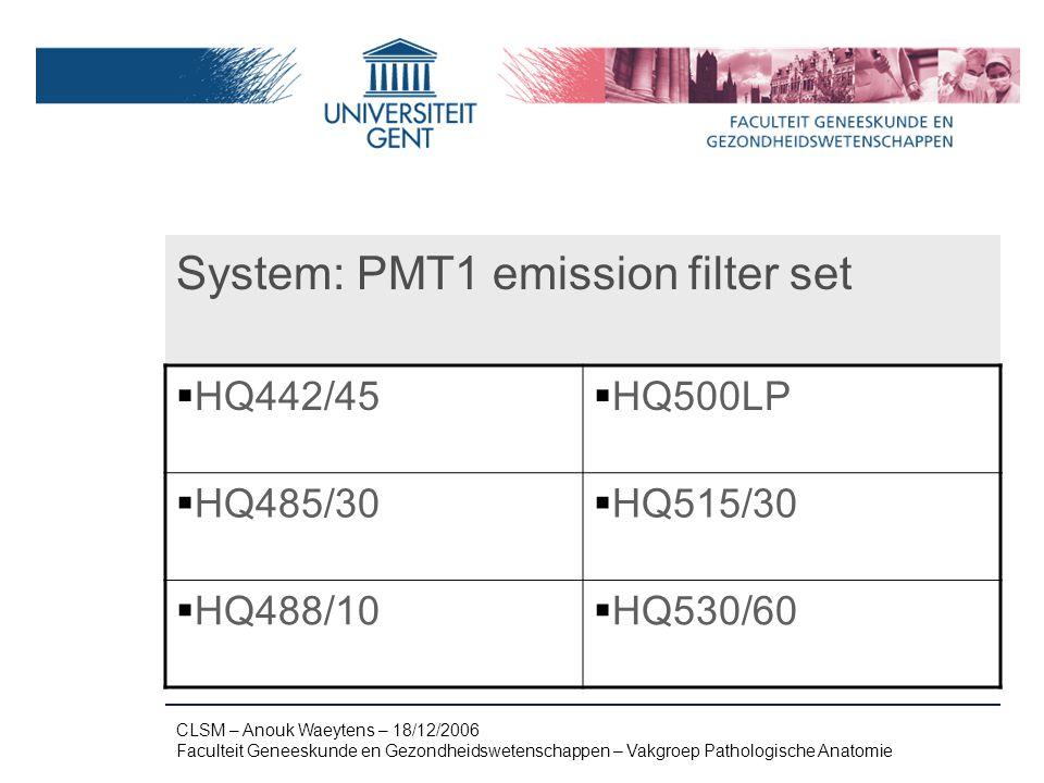 Naam presentatie – Naam maker en/of presentator - 12/09/2005 Faculteit Naam Faculteit – Dienst of Vakgroep (optioneel) System: PMT1 emission filter set  HQ442/45  HQ500LP  HQ485/30  HQ515/30  HQ488/10  HQ530/60 CLSM – Anouk Waeytens – 18/12/2006 Faculteit Geneeskunde en Gezondheidswetenschappen – Vakgroep Pathologische Anatomie