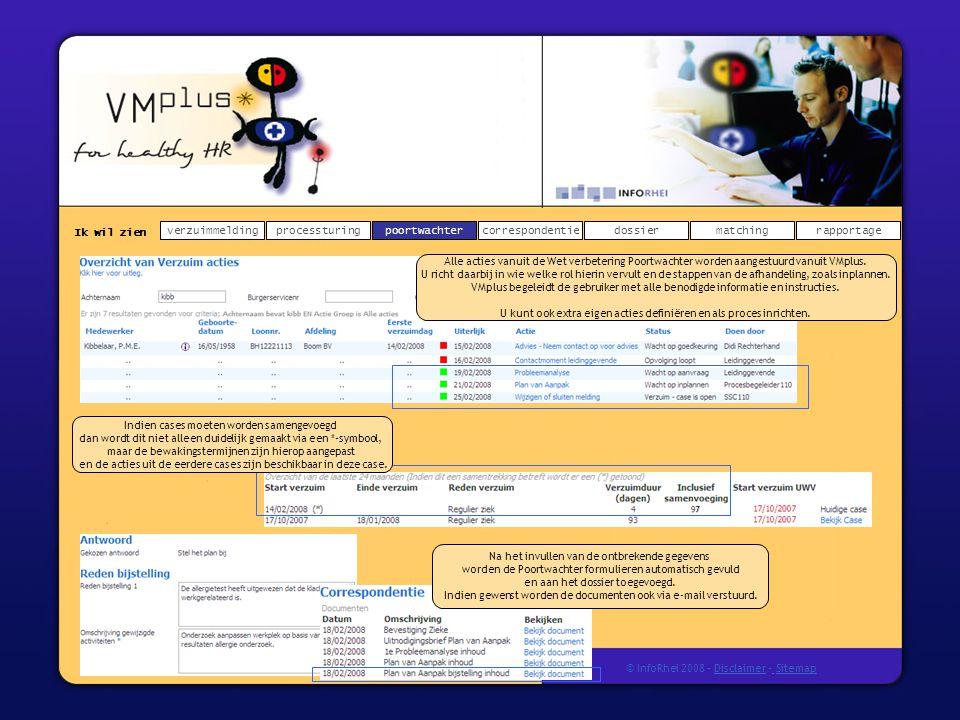 Ik wil zien verzuimmeldingdossierprocessturingpoortwachtercorrespondentierapportagematching © InfoRhei 2008 -Disclaimer -Sitemap Alle acties vanuit de Wet verbetering Poortwachter worden aangestuurd vanuit VMplus.