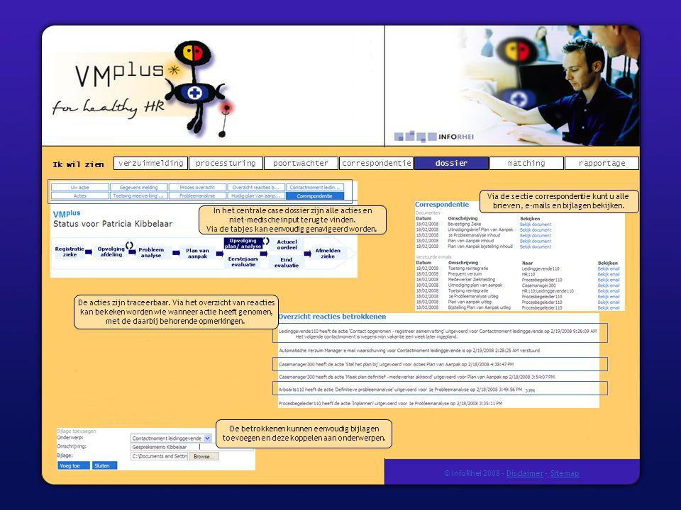 Ik wil zien verzuimmeldingdossierprocessturingpoortwachtercorrespondentierapportagematching © InfoRhei 2008 -Disclaimer -Sitemap De acties zijn traceerbaar.