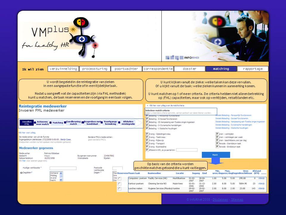 Ik wil zien verzuimmeldingdossierprocessturingpoortwachtercorrespondentierapportagematching © InfoRhei 2008 -Disclaimer -Sitemap U wordt begeleid in de reïntegratie van zieken in een aangepaste functie of in een tijdelijke taak.