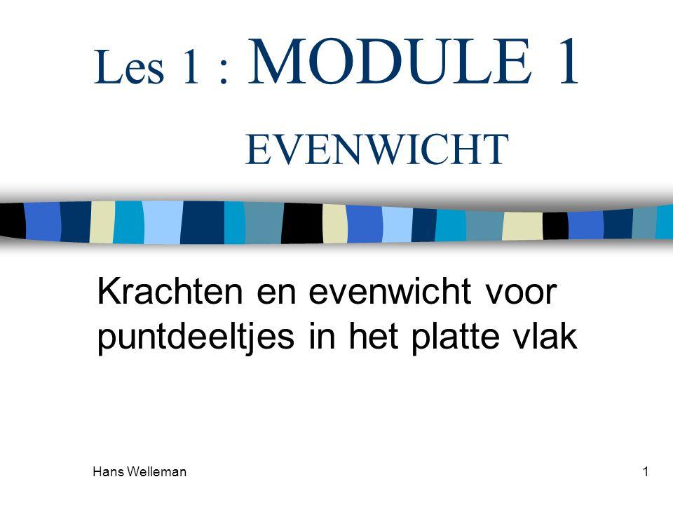 Hans Welleman 2 KRACHTEN EN EVENWICHT 1e wet van Newton –Voor een deeltje in rust (STATICA) geldt dat er geen resulterende kracht op werkt.