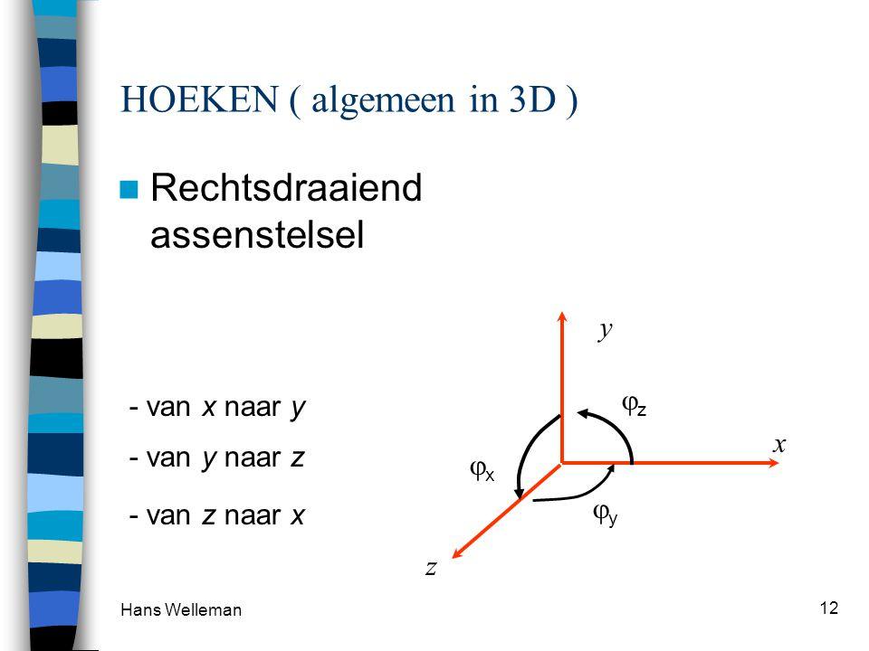 Hans Welleman 12 HOEKEN ( algemeen in 3D ) Rechtsdraaiend assenstelsel x y z zz - van x naar y xx - van y naar z yy - van z naar x