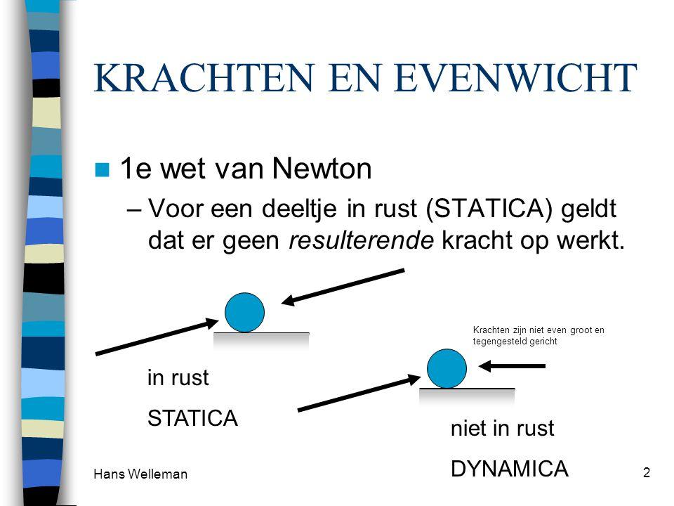 Hans Welleman 2 KRACHTEN EN EVENWICHT 1e wet van Newton –Voor een deeltje in rust (STATICA) geldt dat er geen resulterende kracht op werkt. in rust ST