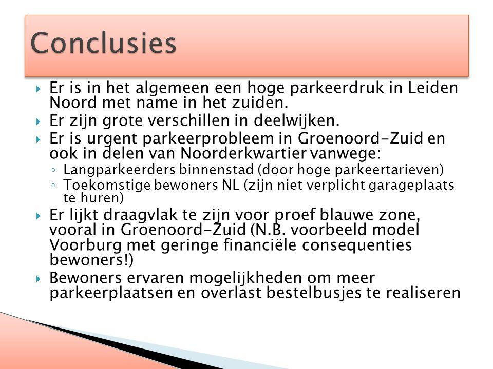  Er is in het algemeen een hoge parkeerdruk in Leiden Noord met name in het zuiden.  Er zijn grote verschillen in deelwijken.  Er is urgent parkeer