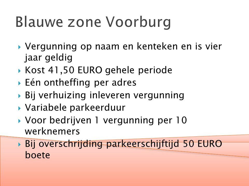 Blauwe zone Voorburg  Vergunning op naam en kenteken en is vier jaar geldig  Kost 41,50 EURO gehele periode  Eén ontheffing per adres  Bij verhuizing inleveren vergunning  Variabele parkeerduur  Voor bedrijven 1 vergunning per 10 werknemers  Bij overschrijding parkeerschijftijd 50 EURO boete