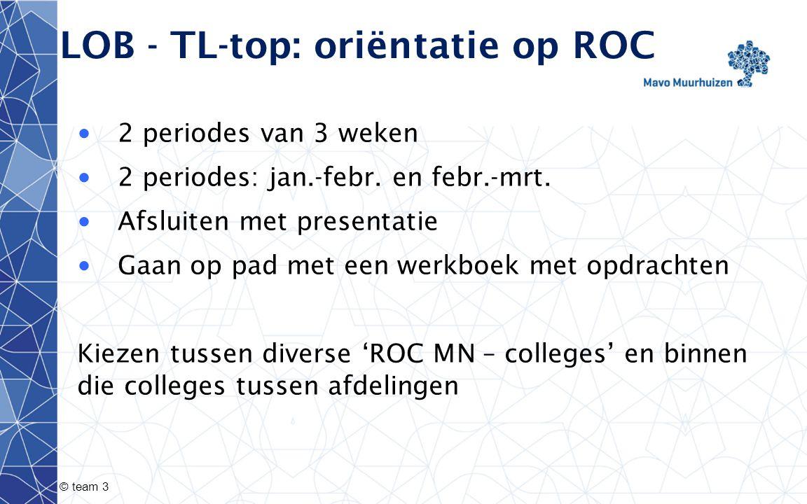 © team 3 LOB - TL-top: oriëntatie op ROC 2 periodes van 3 weken 2 periodes: jan.-febr. en febr.-mrt. Afsluiten met presentatie Gaan op pad met een wer
