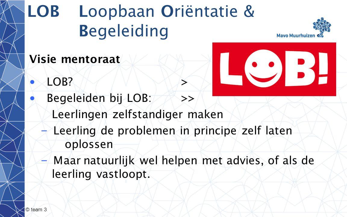 LOBLoopbaan Oriëntatie & Begeleiding Visie mentoraat LOB > Begeleiden bij LOB:>> Leerlingen zelfstandiger maken – Leerling de problemen in principe zelf laten oplossen – Maar natuurlijk wel helpen met advies, of als de leerling vastloopt.