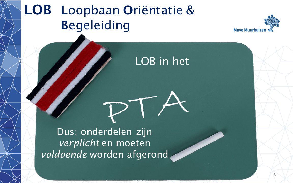 disclaimer8 LOB Loopbaan Oriëntatie & Begeleiding LOB in het Klas 2 LOB in het Dus: onderdelen zijn verplicht en moeten voldoende worden afgerond