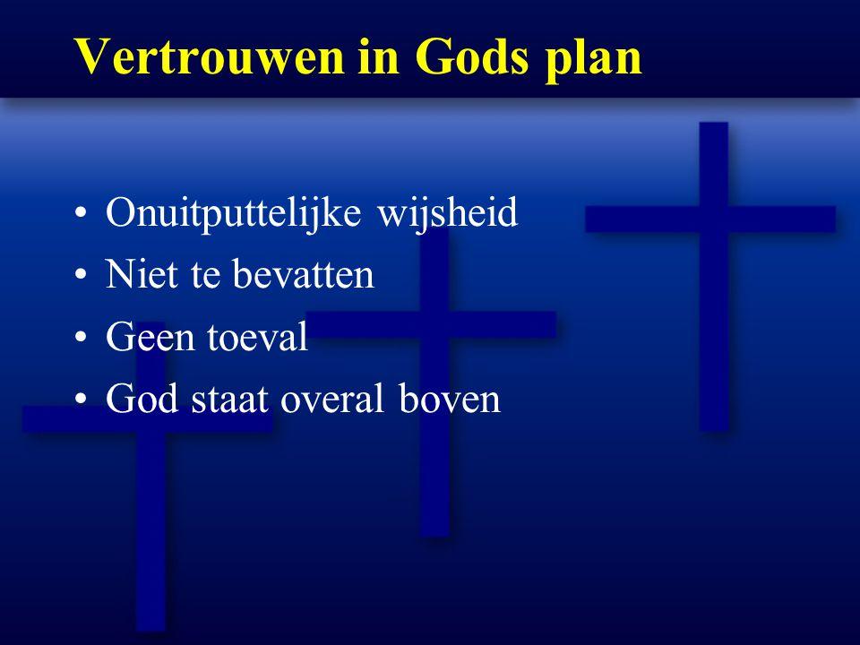 Vertrouwen in Gods plan Onuitputtelijke wijsheid Niet te bevatten Geen toeval God staat overal boven
