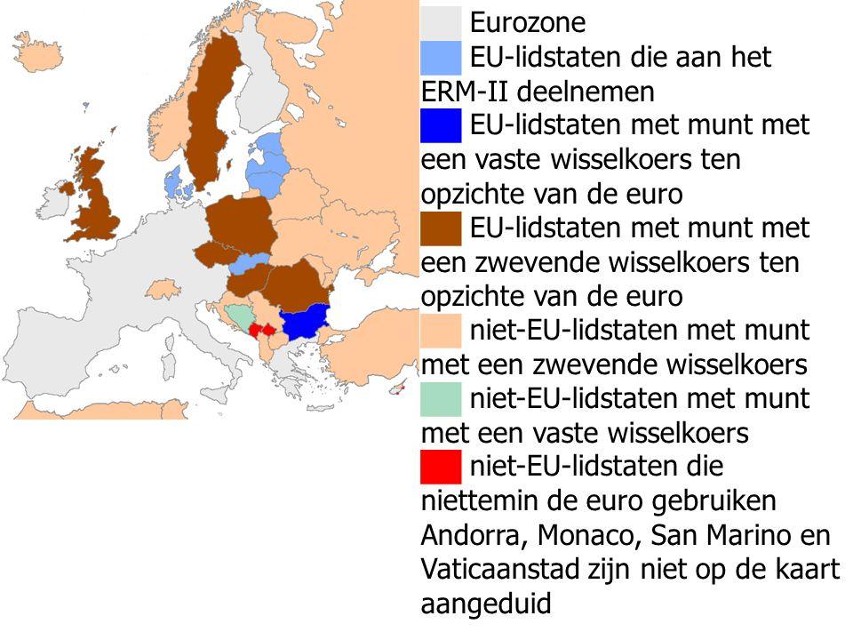 ██ Eurozone ██ EU-lidstaten die aan het ERM-II deelnemen ██ EU-lidstaten met munt met een vaste wisselkoers ten opzichte van de euro ██ EU-lidstaten m