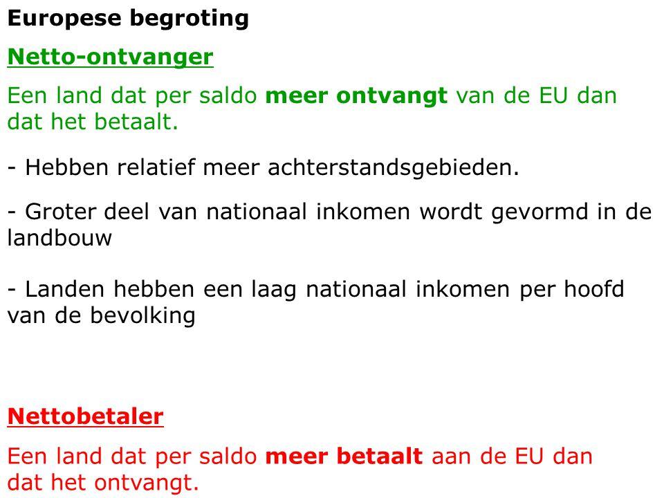 Europese begroting Netto-ontvanger Een land dat per saldo meer ontvangt van de EU dan dat het betaalt. Nettobetaler Een land dat per saldo meer betaal