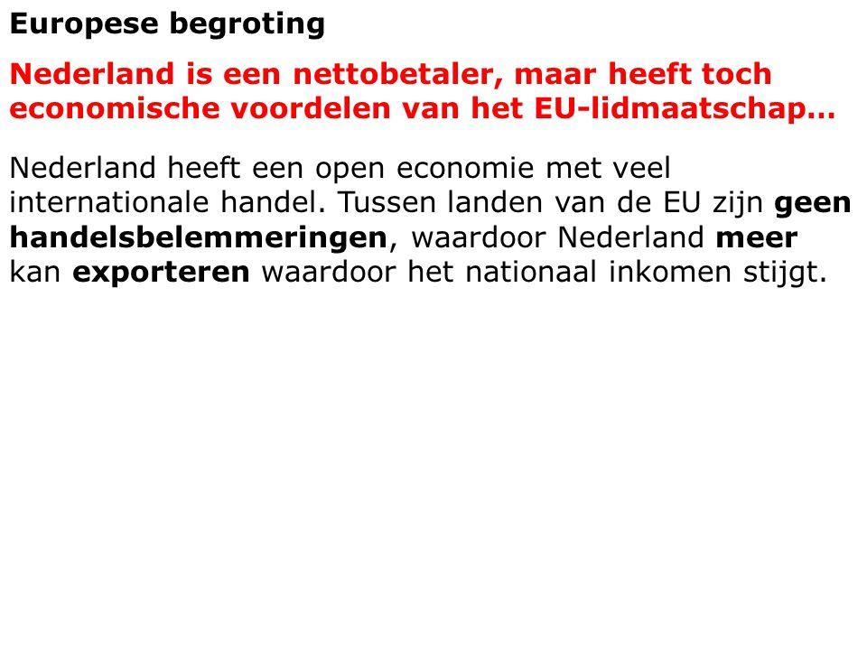 Europese begroting Nederland is een nettobetaler, maar heeft toch economische voordelen van het EU-lidmaatschap… Nederland heeft een open economie met