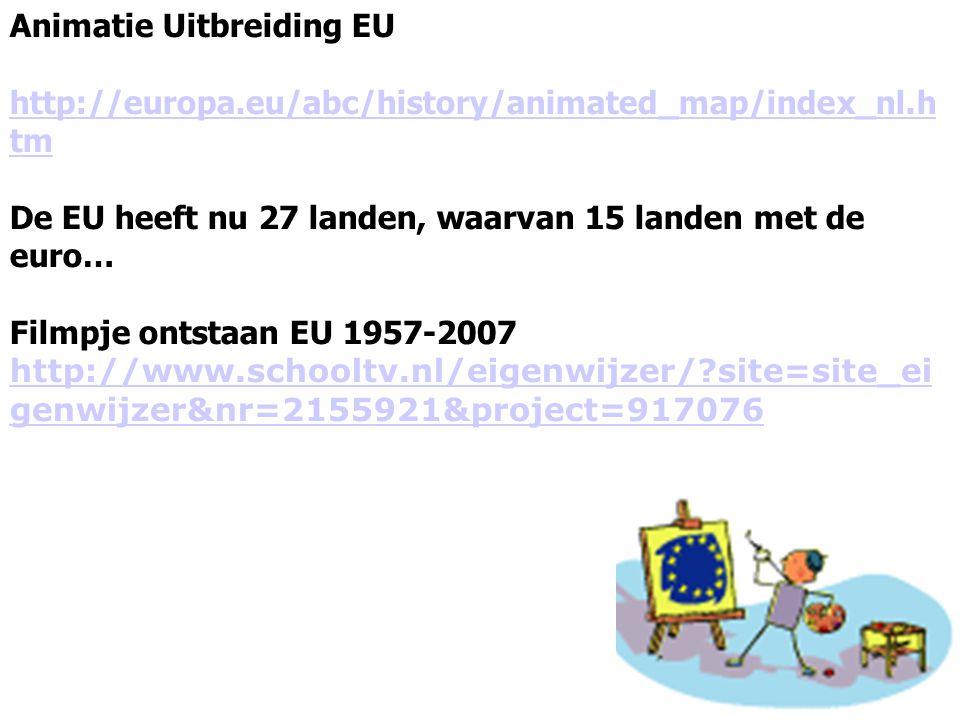 Animatie Uitbreiding EU http://europa.eu/abc/history/animated_map/index_nl.h tm De EU heeft nu 27 landen, waarvan 15 landen met de euro… Filmpje ontst