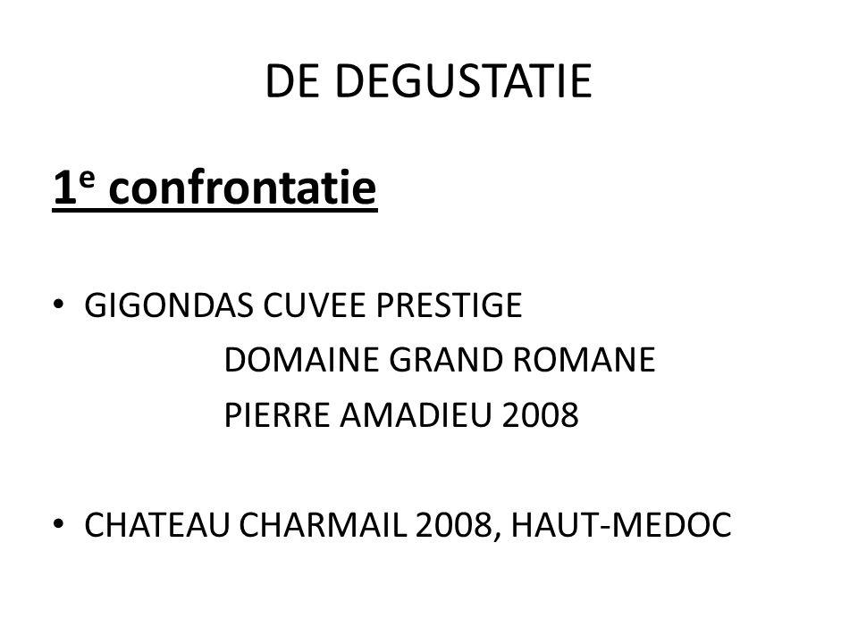 DE DEGUSTATIE 1 e confrontatie GIGONDAS CUVEE PRESTIGE DOMAINE GRAND ROMANE PIERRE AMADIEU 2008 CHATEAU CHARMAIL 2008, HAUT-MEDOC