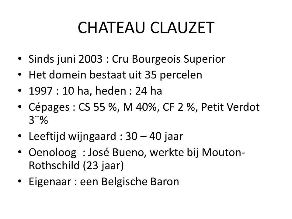 CHATEAU CLAUZET Sinds juni 2003 : Cru Bourgeois Superior Het domein bestaat uit 35 percelen 1997 : 10 ha, heden : 24 ha Cépages : CS 55 %, M 40%, CF 2