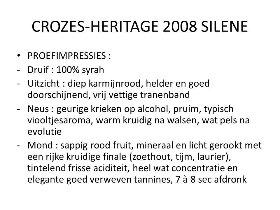 CROZES-HERITAGE 2008 SILENE PROEFIMPRESSIES : -Druif : 100% syrah -Uitzicht : diep karmijnrood, helder en goed doorschijnend, vrij vettige tranenband