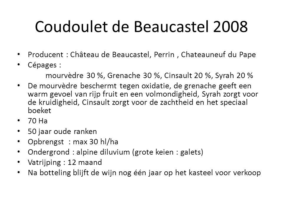 Coudoulet de Beaucastel 2008 Producent : Château de Beaucastel, Perrin, Chateauneuf du Pape Cépages : mourvèdre 30 %, Grenache 30 %, Cinsault 20 %, Sy