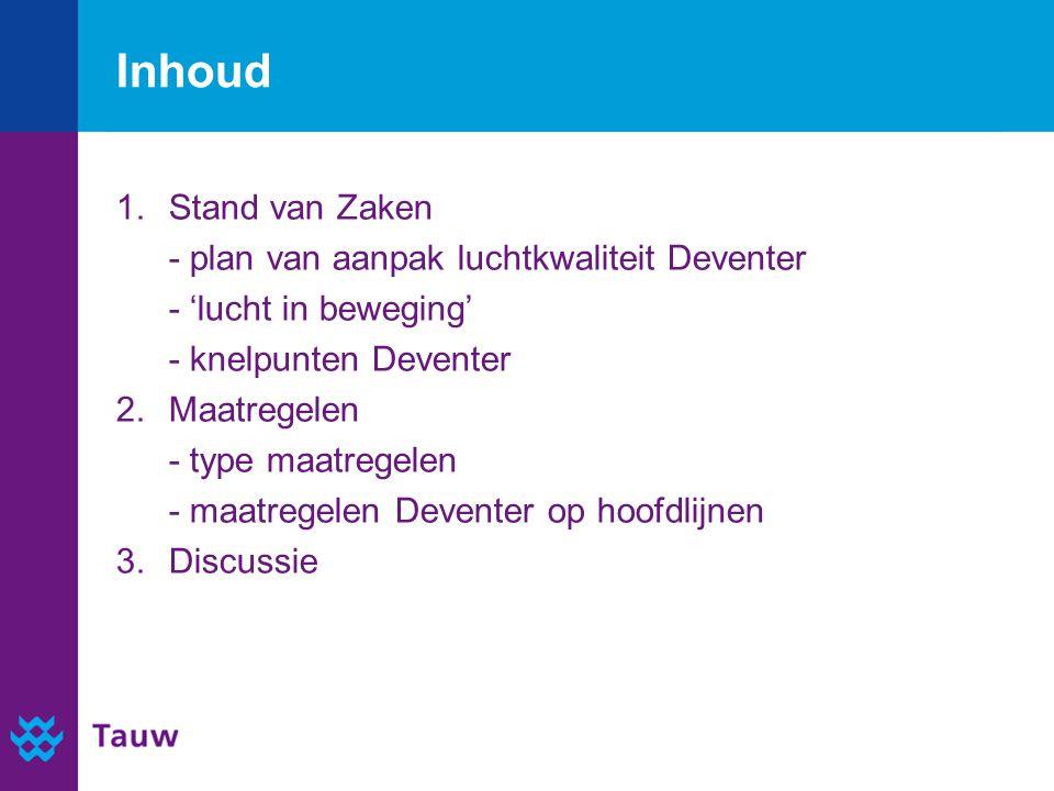 Inhoud 1.Stand van Zaken - plan van aanpak luchtkwaliteit Deventer - 'lucht in beweging' - knelpunten Deventer 2.Maatregelen - type maatregelen - maatregelen Deventer op hoofdlijnen 3.Discussie