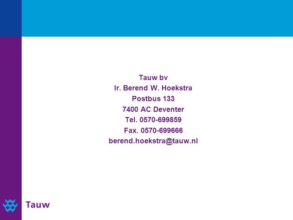 Tauw bv Ir. Berend W. Hoekstra Postbus 133 7400 AC Deventer Tel.
