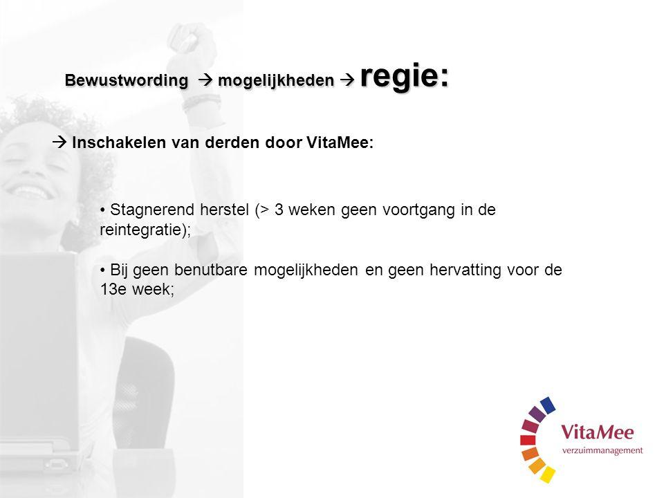 Bewustwording  mogelijkheden  regie: Stagnerend herstel (> 3 weken geen voortgang in de reintegratie); Bij geen benutbare mogelijkheden en geen herv