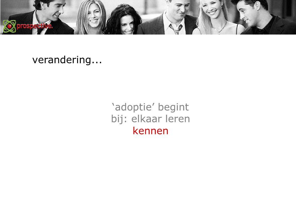 'adoptie' begint bij: elkaar leren kennen verandering...