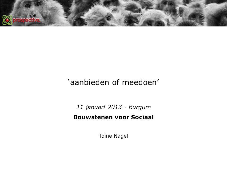 'aanbieden of meedoen' 11 januari 2013 - Burgum Bouwstenen voor Sociaal Toine Nagel