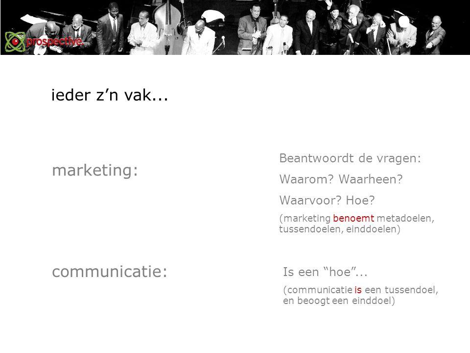 marketing: communicatie: Beantwoordt de vragen: Waarom.