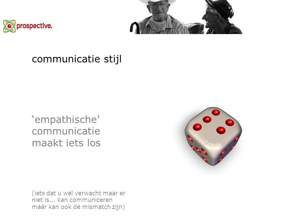 communicatie stijl 'empathische' communicatie maakt iets los (iets dat u wél verwacht maar er niet is...