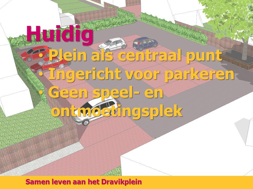 Samen leven aan het Dravikplein Huidig Plein als centraal punt Plein als centraal punt Ingericht voor parkeren Ingericht voor parkeren Geen speel- en