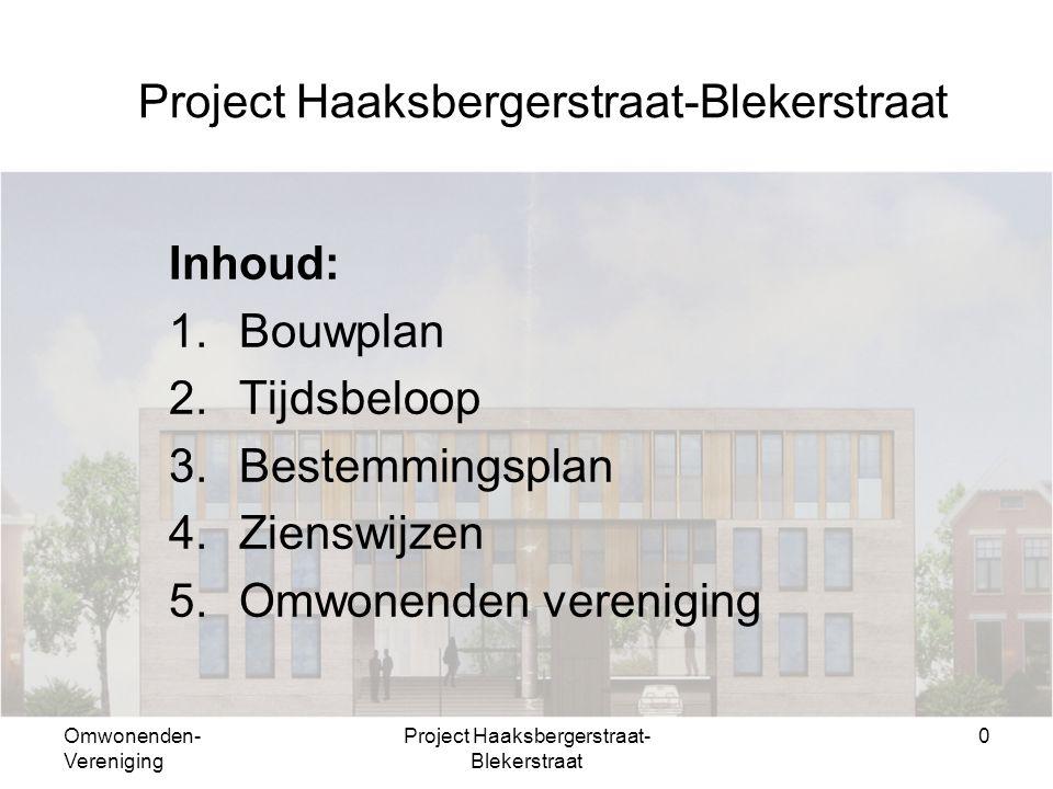 Omwonenden- Vereniging Project Haaksbergerstraat- Blekerstraat 0 Inhoud: 1.Bouwplan 2.Tijdsbeloop 3.Bestemmingsplan 4.Zienswijzen 5.Omwonenden vereniging