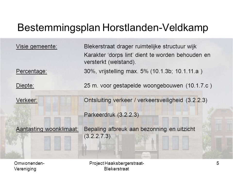 Omwonenden- Vereniging Project Haaksbergerstraat- Blekerstraat 5 Bestemmingsplan Horstlanden-Veldkamp Visie gemeente:Blekerstraat drager ruimtelijke structuur wijk Karakter 'dorps lint' dient te worden behouden en versterkt (welstand).