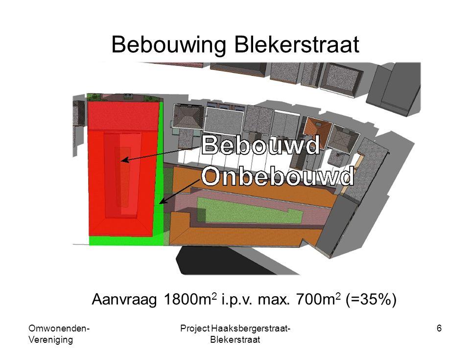 Omwonenden- Vereniging Project Haaksbergerstraat- Blekerstraat 6 Bebouwing Blekerstraat Aanvraag 1800m 2 i.p.v.