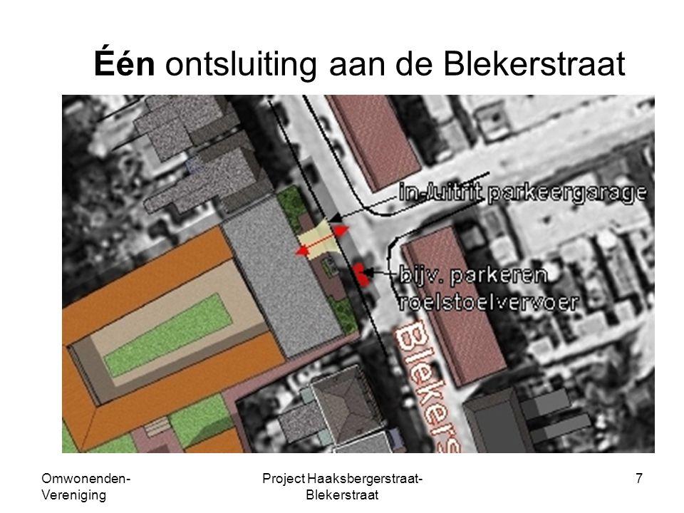 Omwonenden- Vereniging Project Haaksbergerstraat- Blekerstraat 7 Één ontsluiting aan de Blekerstraat