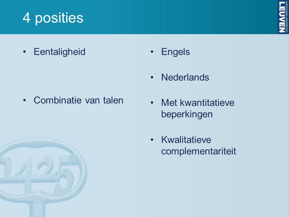 4 posities Eentaligheid Combinatie van talen Engels Nederlands Met kwantitatieve beperkingen Kwalitatieve complementariteit