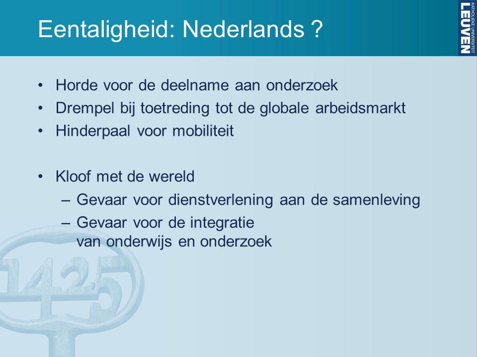 Eentaligheid: Nederlands ? Horde voor de deelname aan onderzoek Drempel bij toetreding tot de globale arbeidsmarkt Hinderpaal voor mobiliteit Kloof me