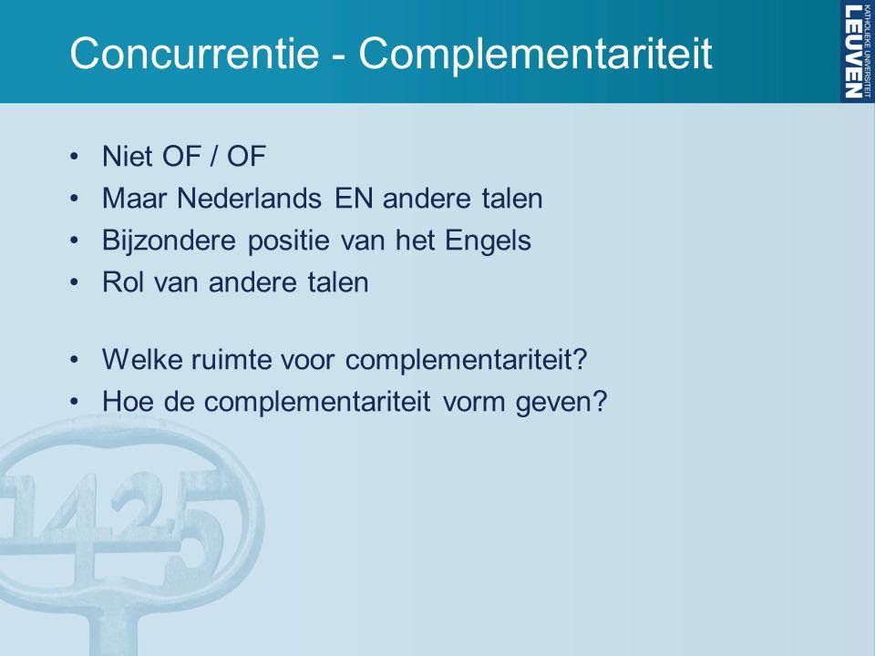 Concurrentie - Complementariteit Niet OF / OF Maar Nederlands EN andere talen Bijzondere positie van het Engels Rol van andere talen Welke ruimte voor