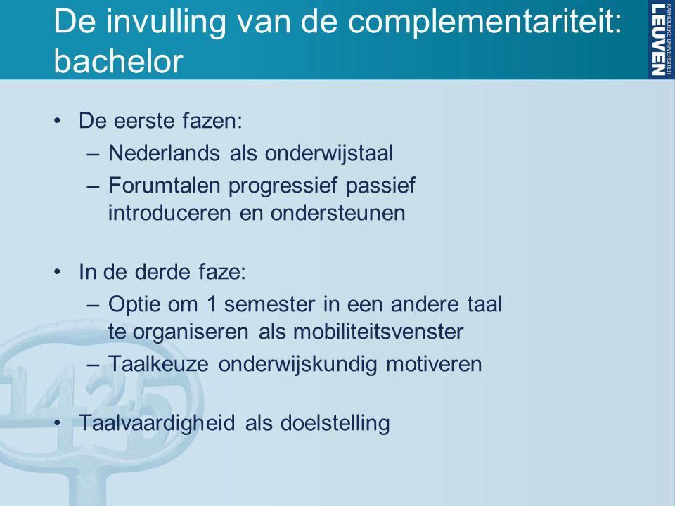 De invulling van de complementariteit: bachelor De eerste fazen: –Nederlands als onderwijstaal –Forumtalen progressief passief introduceren en onderst