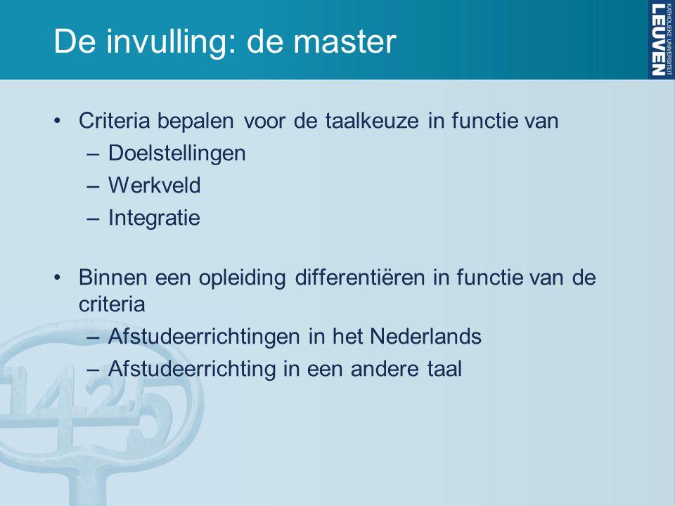 De invulling: de master Criteria bepalen voor de taalkeuze in functie van –Doelstellingen –Werkveld –Integratie Binnen een opleiding differentiëren in