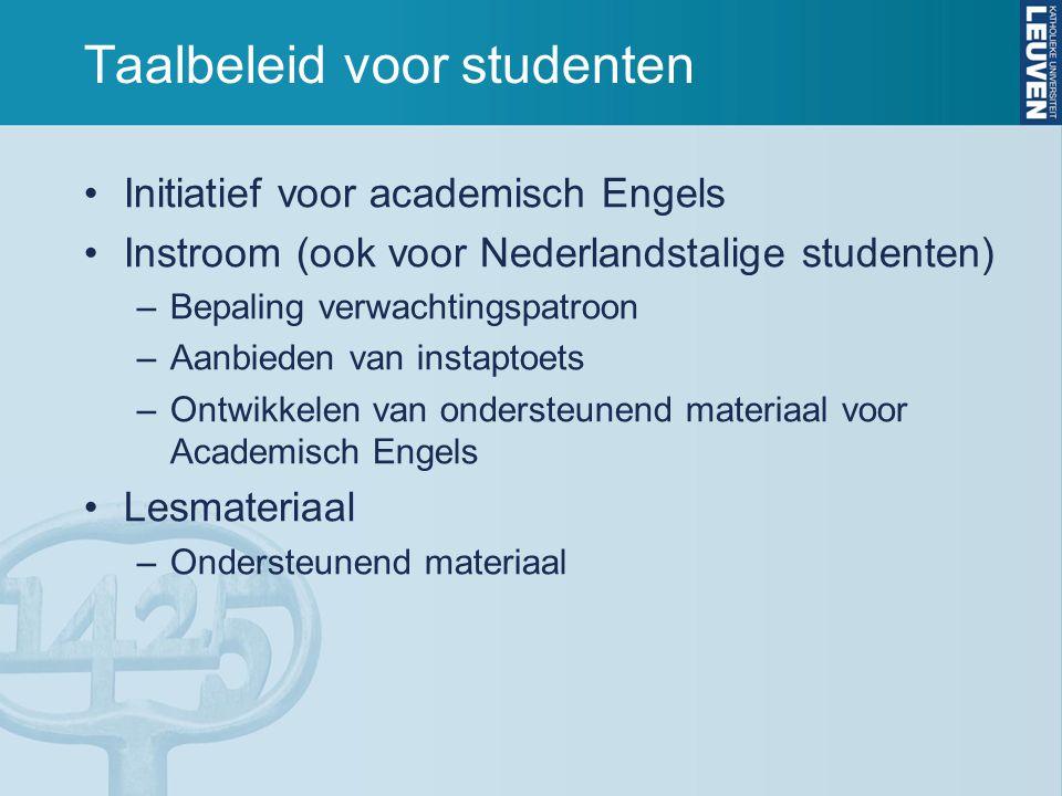 Taalbeleid voor studenten Initiatief voor academisch Engels Instroom (ook voor Nederlandstalige studenten) –Bepaling verwachtingspatroon –Aanbieden va