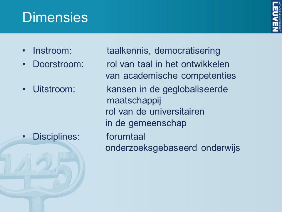 Dimensies Instroom: taalkennis, democratisering Doorstroom: rol van taal in het ontwikkelen van academische competenties Uitstroom:kansen in de geglob