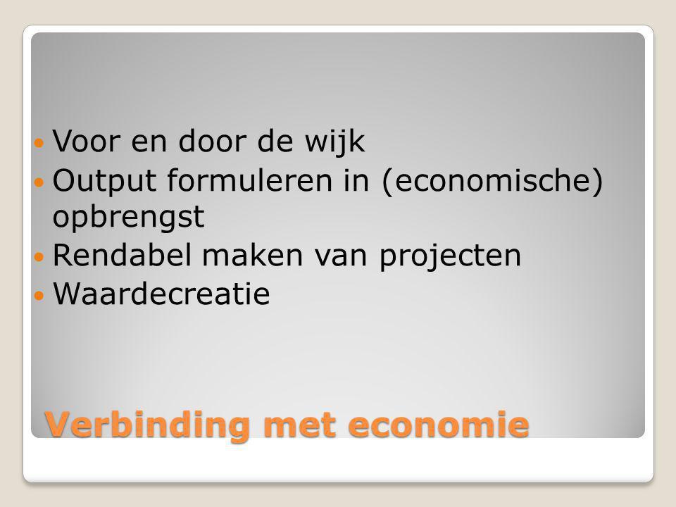 Verbinding met economie Voor en door de wijk Output formuleren in (economische) opbrengst Rendabel maken van projecten Waardecreatie