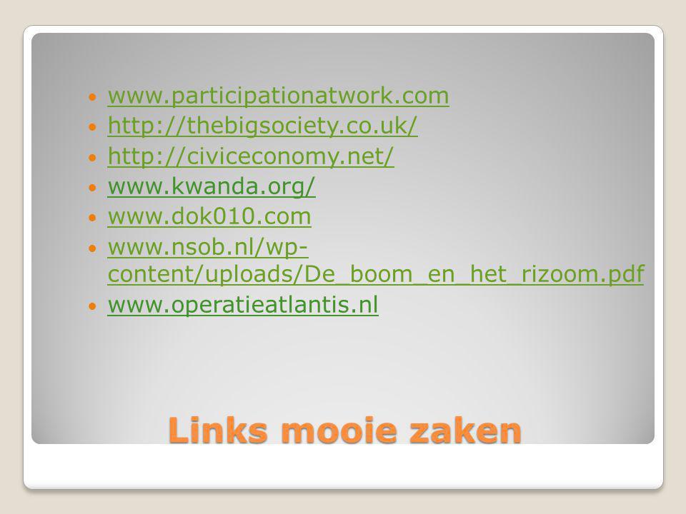 Links mooie zaken www.participationatwork.com http://thebigsociety.co.uk/ http://civiceconomy.net/ www.kwanda.org/ www.dok010.com www.nsob.nl/wp- content/uploads/De_boom_en_het_rizoom.pdf www.nsob.nl/wp- content/uploads/De_boom_en_het_rizoom.pdf www.operatieatlantis.nl