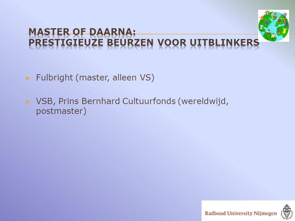  Fulbright (master, alleen VS)  VSB, Prins Bernhard Cultuurfonds (wereldwijd, postmaster)