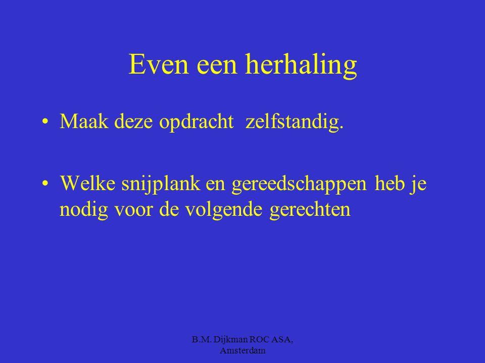 B.M. Dijkman ROC ASA, Amsterdam Weet je dat.. Een witte snijplank is voor… Een rode snijplank is voor…rauw vlees. Een blauwe snijplank is voor rauwe v