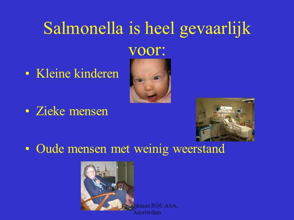 B.M. Dijkman ROC ASA, Amsterdam Salmonella –Deze komt voor in: –kip –eier-producten –Varkensvlees