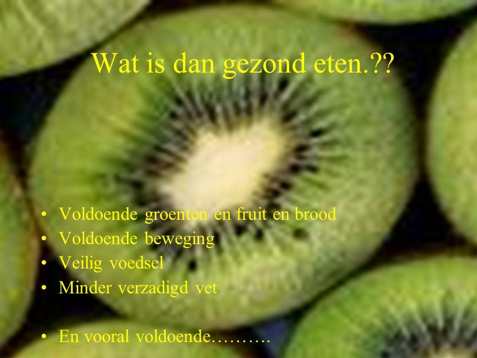 B.M. Dijkman ROC ASA, Amsterdam Wat hoort volgens jullie bij gezond eten. Je krijgt 5 minuten om minstens 5 punten op te schrijven die volgens jouw on