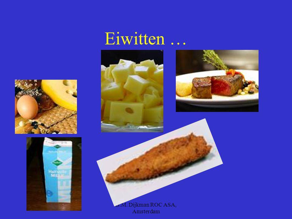 B.M. Dijkman ROC ASA, Amsterdam Waar zitten eiwitten dan in ?? Vis Gevogelte Vlees Noten Zuivel Bonen
